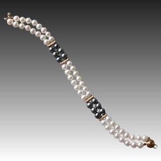 14k Double Strand Cultured Pearl Bracelet