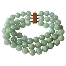 Triple Strand Chinese Jade Bead Bracelet 14k Clasp