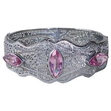 Art Deco Rhodium Plate Filigree Bracelet w Pink Jewels