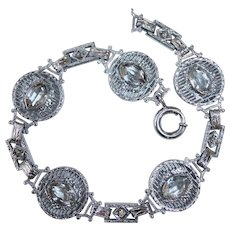 Art Deco Rhodium Plate Filigree Link Bracelet w Clear Jewels