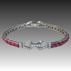 Art Deco Sterling Bracelet Ruby Red Paste & Clear Paste Accents