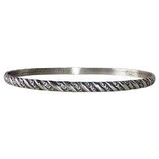 Danecraft Sterling Embossed Pattern Oval Bangle Bracelet
