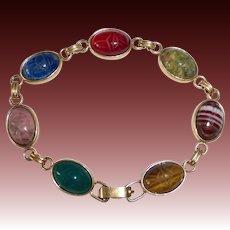 Egyptian Revival Krementz GF Semi Precious Stone Scarab Beetle Bracelet