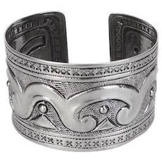 Mexican 900 Silver Repousse Textured Wide Cuff Bracelet