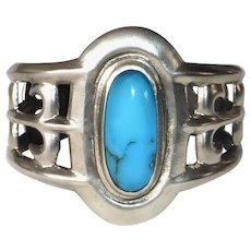Native American Navajo Sand Cast Cuff Bracelet w Sleeping Beauty Turquoise