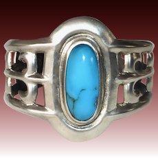 Native American Navajo Sand Cast Cuff Bracelet w Sleeping Beauty Turquoise