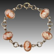 Van Dell Gold Filled five Cameo Bracelet