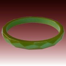 Faceted Green Bakelite Bracelet w Amber Edges