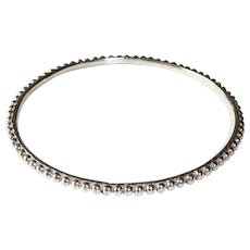 Sterling Silver Beaded Bangle Bracelet