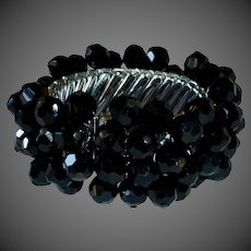 Faceted Black Glass Bead Flexible Expansion Bracelet