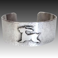Handcrafted Wide Sterling Hammered Cuff Bracelet w Bunny