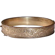 Dunn Brothers Gold Filled Engraved Childs Hinged Bracelet