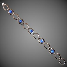 Simmons Gold Filled Link Bracelet w Cobalt Glass Jewels