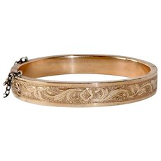 Victorian Rolled Gold Engraved Hinged Bangle Bracelet