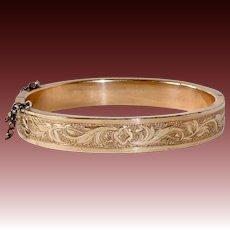 Victorian Rolled Gold Engraved Hinged Bangle Bracelet