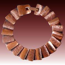 Gleaming Copper Slinky Layered Panel Bracelet