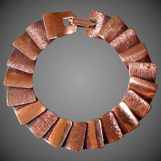 Gleaming Copper Slinky Layered Panel Bracelet