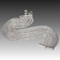 Sterling Sixteen Strand Slinky Ball Chain Bracelet