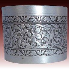 Pressed Aluminum Wide Cuff Bracelet w Foliate Design