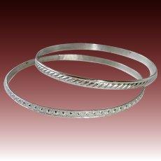 Wells Sterling Patterned Bangle Bracelet Set of 2
