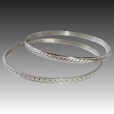 Wells Sterling Patterned Bangle Bracelet Set of 2