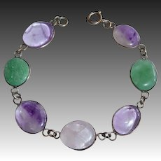 Silver Plated Wire Wrapped Polished Gemstone Bracelet