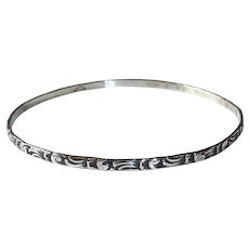 Beau Sterling Patterned Bangle Bracelet