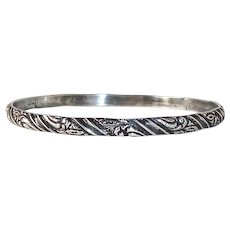 Coro Sterling Patterned Bangle Bracelet