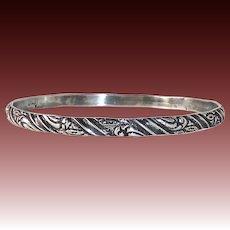 Coro Sterling Patterned Bangle Bracelet