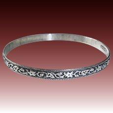 Danecraft Felch Sterling Bangle Bracelet Embossed Floral Vine