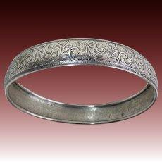Danecraft Sterling Wide Embossed Bangle Bracelet