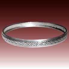 Domed Sterling Bangle Bracelet Greek Key Design