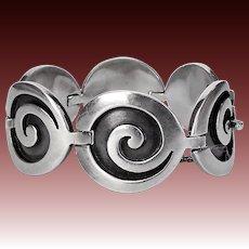 Mexican Signed Sterling Applique Swirl Link Bracelet