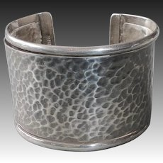 Mexican Sterling Wide Hammered Cuff Bracelet