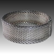 Mexican Sterling Signed Wide Flexible Mesh Bracelet