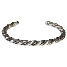 Native American Sterling Twisted Wire Cuff Bracelet