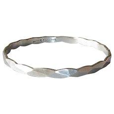 Toepfer Sterling Hammered Facets Bangle Bracelet