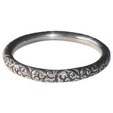 Victorian Handcrafted Repousse Bangle Bracelet