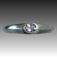 Sterling Cuff Bracelet w Oval Faceted Amethyst