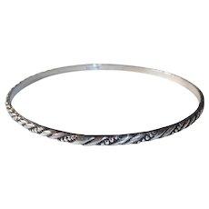Sterling Bangle Bracelet w Incised Diagonal Design