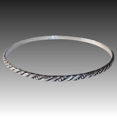 Sterling Bangle Bracelet w Incised Diagonal Design