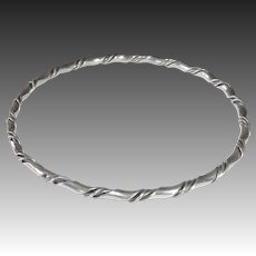 Sterling Silver Ribbon Twist Bangle Bracelet