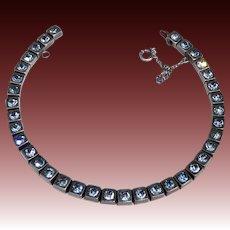 Art Deco Sterling Line Bracelet w Blue Paste