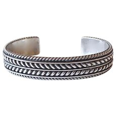 Native American Navajo Sterling Cuff Bracelet Tom Hawk