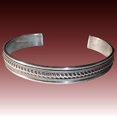 Sterling Cuff Bracelet Fine Twisted Wire Center Large Size