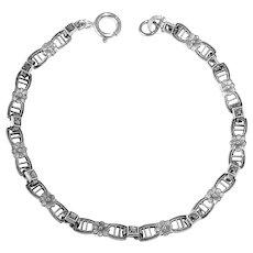 Art Deco Sterling Marcasite Delicate Link Bracelet