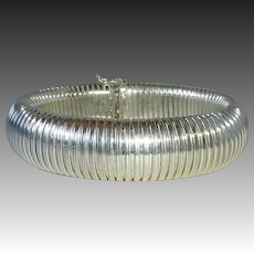 Wide Flexible Italian Sterling Domed Bracelet