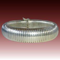 Wide Flexible Italian Sterling Domed Bracelet