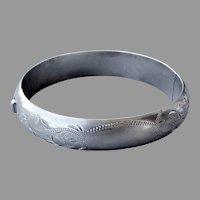 Engraved Sterling Marathon Domed Hinged Bangle Bracelet
