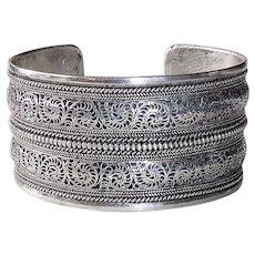 Ethnic Sterling Wide Ornate Filigree Cuff Bracelet